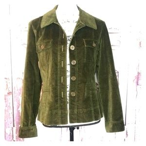 Velvet Jacket Army Green Talbots Petite Medium